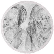 A Young Girl Of Cologne And Dbcrer Wife 1520 Round Beach Towel