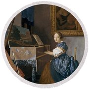 A Young Lady Seated At A Virginal Round Beach Towel