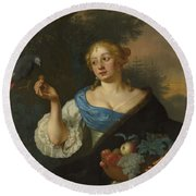 A Young Woman With A Parrot, Ary De Vois, 1660 - 1680 Round Beach Towel