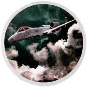 A10 Thunderbolt In Flight Round Beach Towel