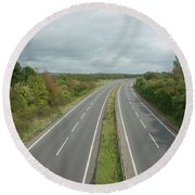 A27 Dual Carriageway Totally Clear Of Traffic. Round Beach Towel