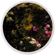 Aagaard Carl Frederick The Rose Garden Round Beach Towel