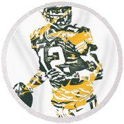 Aaron Rodgers Green Bay Packers Pixel Art 15 Round Beach Towel