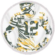 Aaron Rodgers Green Bay Packers Pixel Art 20 Round Beach Towel