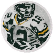 Aaron Rodgers Green Bay Packers Pixel Art 4 Round Beach Towel