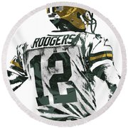 Aaron Rodgers Green Bay Packers Pixel Art 5 Round Beach Towel