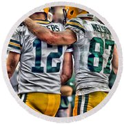 Aaron Rodgers Jordy Nelson Green Bay Packers Art Round Beach Towel
