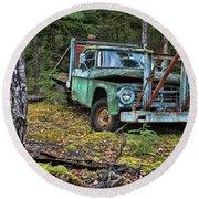 Abandoned Alaskan Logging Truck Round Beach Towel