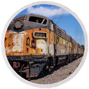 Abandoned Bessemer And Lake Erie Trains Schellville California Round Beach Towel