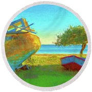 Abandoned Boats On Choctawhatchee Bay Round Beach Towel