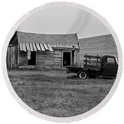 Abandoned Ford Truck And Shed Round Beach Towel