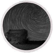 Abandoned House Spiral Star Trail Bw  Round Beach Towel