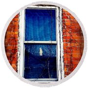 Abandoned House Window With Vines Round Beach Towel