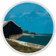 Abandoned Keys Bridge Round Beach Towel