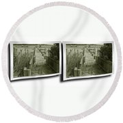Abandoned Pier - Gently Cross Your Eyes And Focus On The Middle Image Round Beach Towel