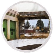 Abandoned Service Station Painterly Impressions Round Beach Towel