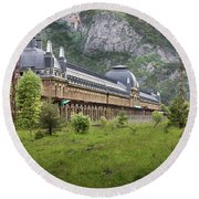 Abandoned Side Of The Canfranc International Railway Station Round Beach Towel