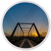 Abandoned Steel Bridge Round Beach Towel