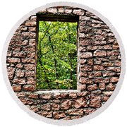 Abandoned Stone Wall With Window Round Beach Towel