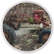 Abandoned Tractor Round Beach Towel