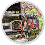 Abandoned Truck With Spray Paint Round Beach Towel