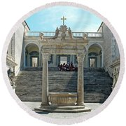 Abbey Of Montecassino Courtyard Round Beach Towel