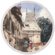 Abbey St-amand, Rouen Round Beach Towel