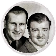 Abbott And Costello Round Beach Towel