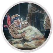 Abbott And Costello Meet Frankenstein Round Beach Towel