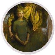 Abbott Handerson Thayer 1849 - 1921 Boy And Angel Round Beach Towel