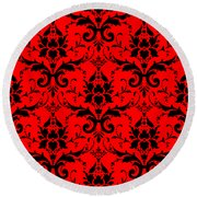 Abby Damask In Black Pattern 02-p0113 Round Beach Towel