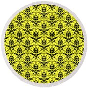 Abby Damask In Black Pattern 05-p0113 Round Beach Towel