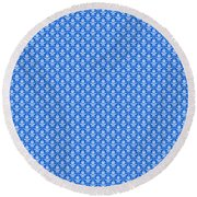 Abby Damask In White Pattern 18-p0113 Round Beach Towel