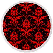 Abby Damask With A Black Background 02-p0113 Round Beach Towel