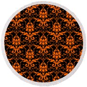 Abby Damask With A Black Background 03-p0113 Round Beach Towel