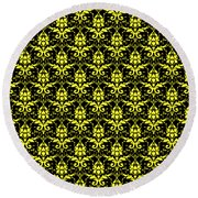 Abby Damask With A Black Background 05-p0113 Round Beach Towel