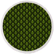 Abby Damask With A Black Background 09-p0113 Round Beach Towel