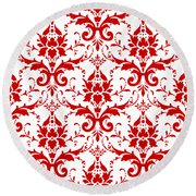Abby Damask With A White Background 02-p0113 Round Beach Towel