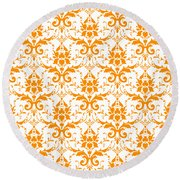 Abby Damask With A White Background 03-p0113 Round Beach Towel