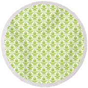Abby Damask With A White Background 09-p0113 Round Beach Towel