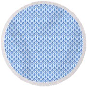 Abby Damask With A White Background 18-p0113 Round Beach Towel