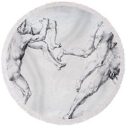 Abduction Of A Woman Rape Of The Sabine Women 1495 Round Beach Towel