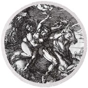 Abduction Of Proserpine On A Unicorn 1516 Round Beach Towel