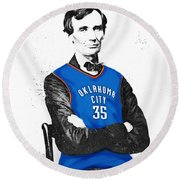 Abe Lincoln In An Kevin Durant Okc Thunder Jersey Round Beach Towel