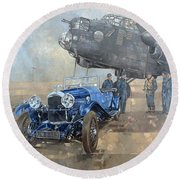 Able Mable And The Blue Lagonda  Round Beach Towel