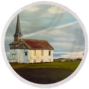 Abondoned Church Round Beach Towel