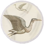 Above A Flying Crane And Beneath A Flying Pelican, Anonymous, 1688 - 1698 Round Beach Towel