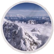 Above Denali Round Beach Towel