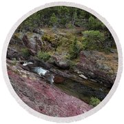 Above Redrock Falls Round Beach Towel