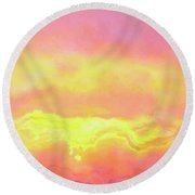 Above The Clouds - Abstract Art Round Beach Towel by Jaison Cianelli